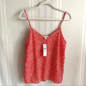 Topshop Animal Print Camisole V-Neck Tank Top Red
